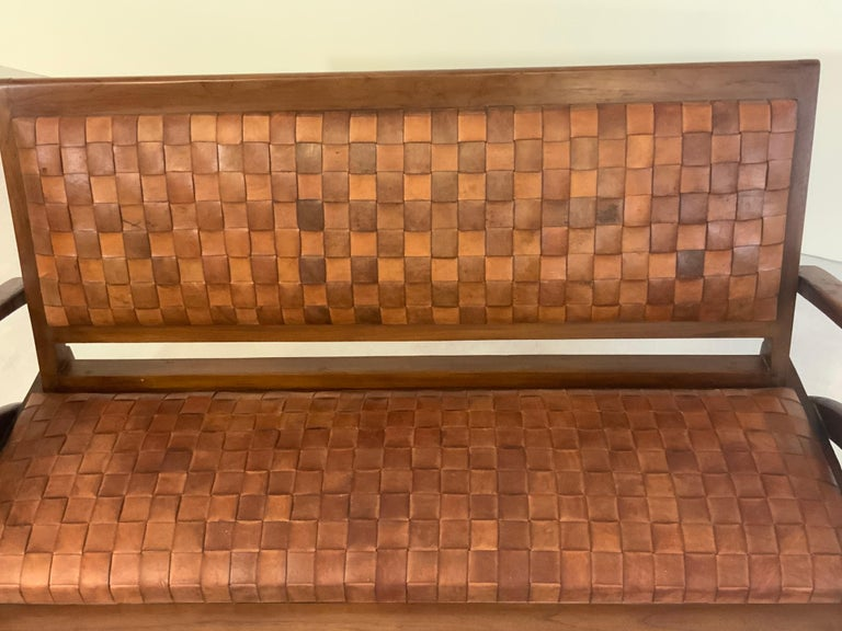Sculptural Midcentury Scandinavian Vintage Woven Leather Bench Lounge Sofa 1960s For Sale 6