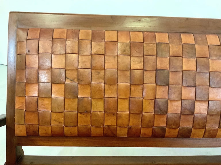 Sculptural Midcentury Scandinavian Vintage Woven Leather Bench Lounge Sofa 1960s For Sale 10