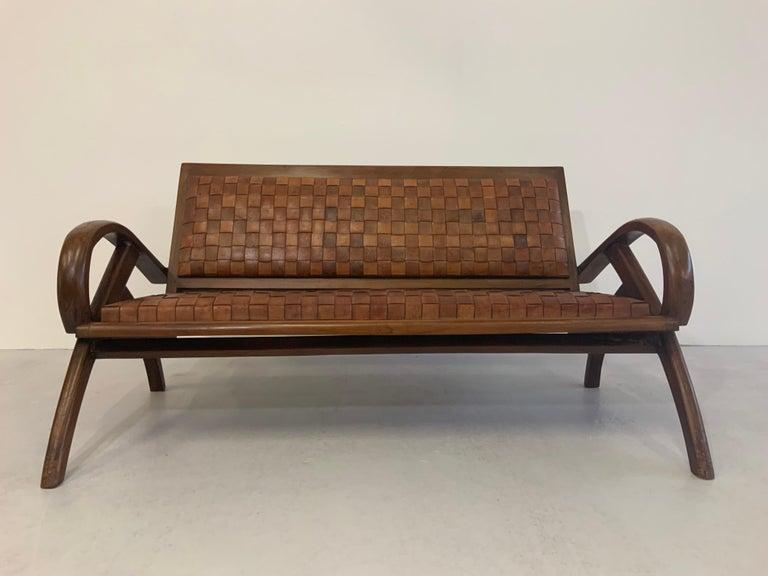 Scandinavian Modern Sculptural Midcentury Scandinavian Vintage Woven Leather Bench Lounge Sofa 1960s For Sale