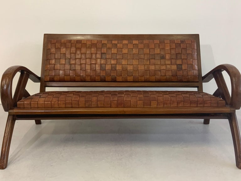 Patinated Sculptural Midcentury Scandinavian Vintage Woven Leather Bench Lounge Sofa 1960s For Sale