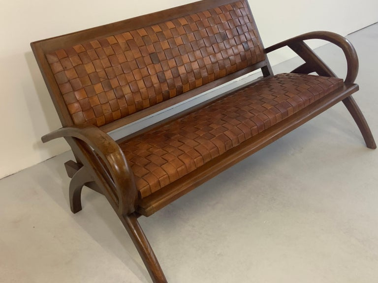 Sculptural Midcentury Scandinavian Vintage Woven Leather Bench Lounge Sofa 1960s In Good Condition For Sale In Hamburg, DE
