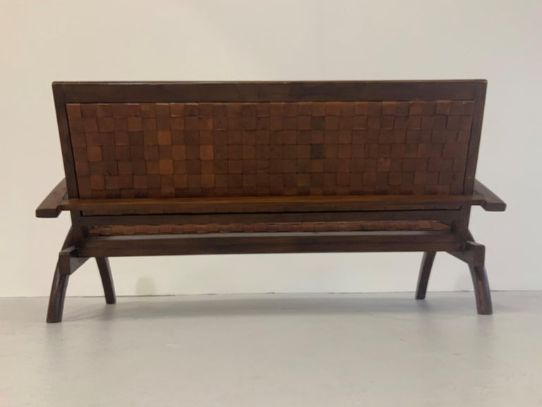 Sculptural Midcentury Scandinavian Vintage Woven Leather Bench Lounge Sofa 1960s For Sale 2