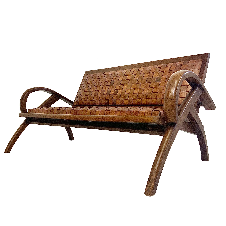 Sculptural Midcentury Scandinavian Vintage Woven Leather Bench Lounge Sofa 1960s