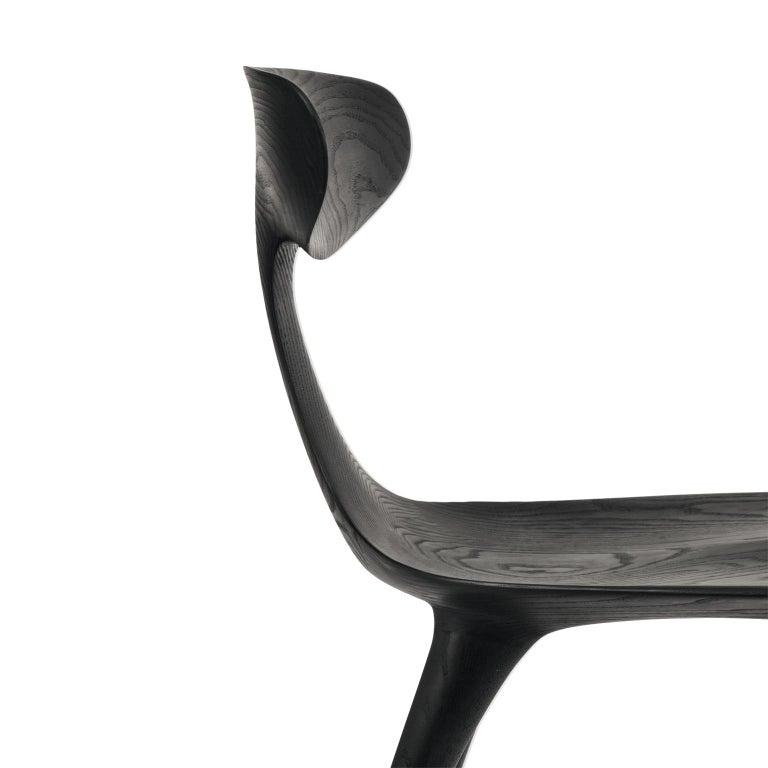American Sculptural Miranda Chair in Blackened Ash by Matthew Sellens of SylvanRay For Sale