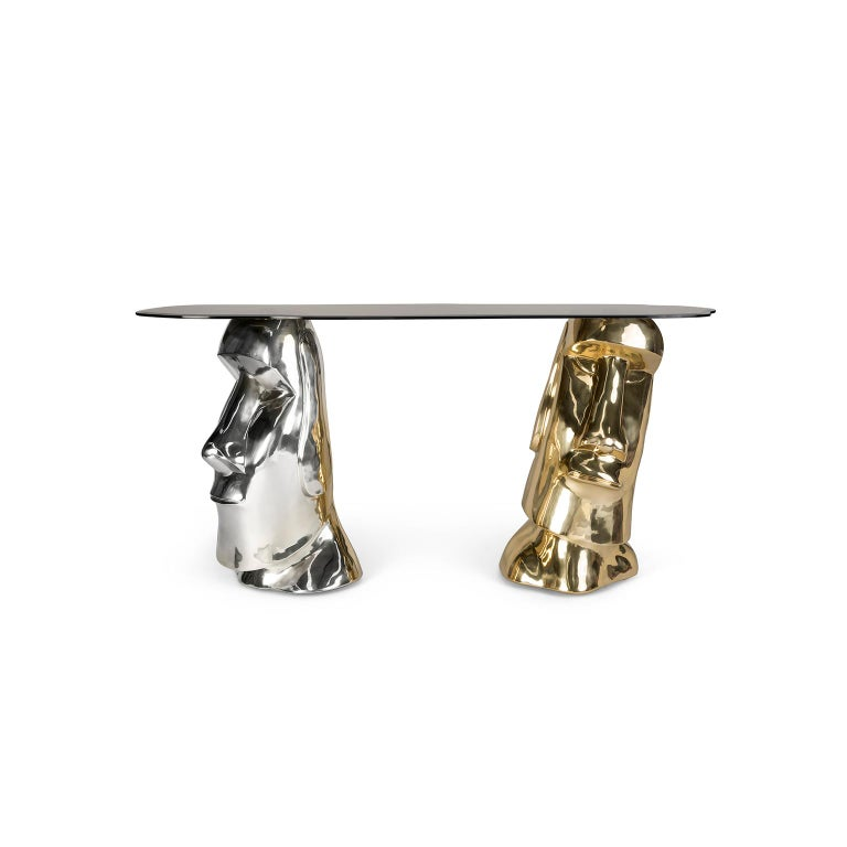 Modern Sculptural Moai Console Table in Polished Brass and Nickel Brass, Bronze Glass For Sale