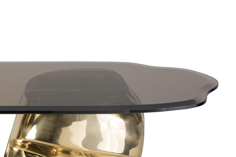 Sculptural Moai Console Table in Polished Brass and Nickel Brass, Bronze Glass In New Condition For Sale In Oporto, PT