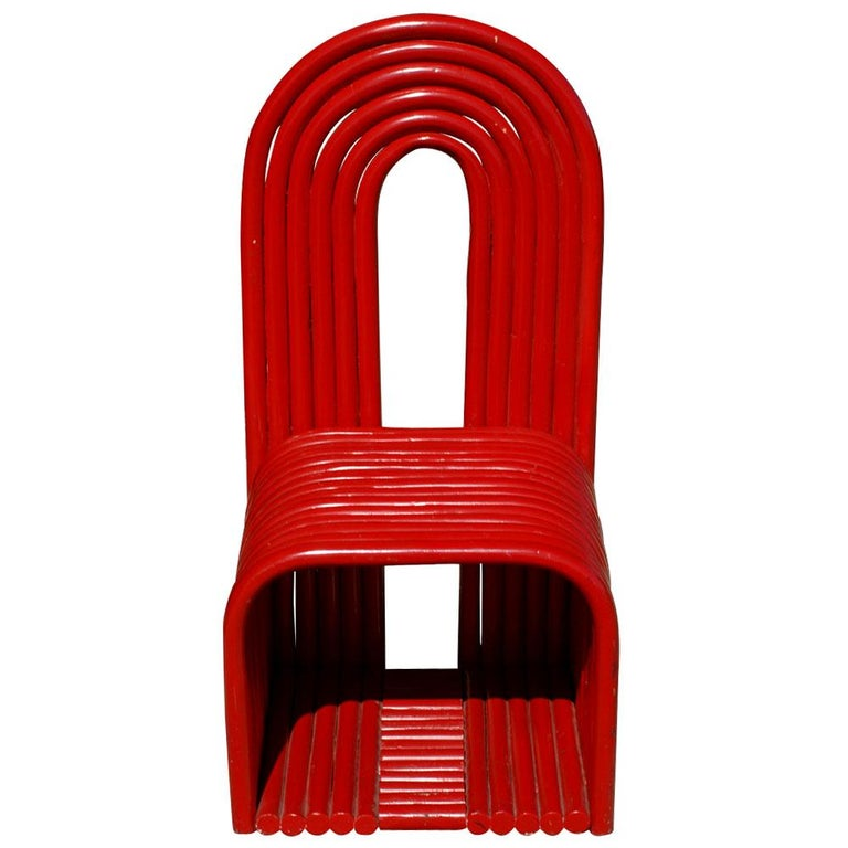 Sculptural art bentwood red chair (MR10573)  Interesting modernist chair sculpted in wood in a bright red finish.   Measures: 20