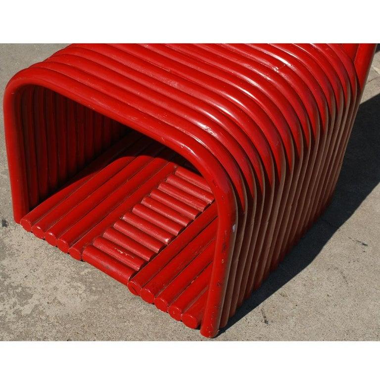 Wood Sculptural Modern Art Red Chair For Sale
