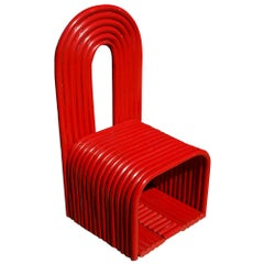 Sculptural Modern Art Red Chair