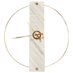 Sculptural Modern Clock 2019 with Carrara Marble and Finishes in 24-Karat Gold