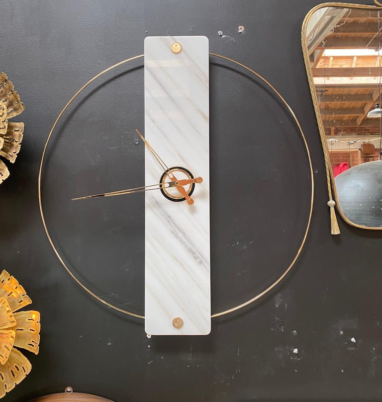 Italian Sculptural Modern Clock 2019 with Carrara Marble and Finishes in 24-Karat Gold For Sale