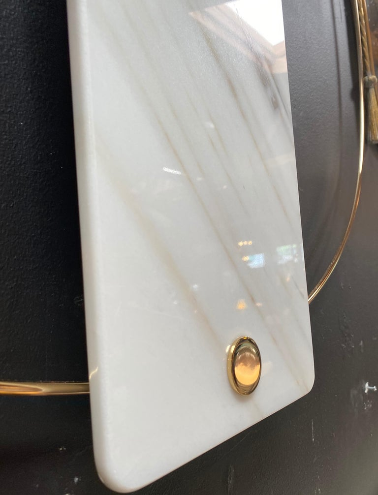 Sculptural Modern Clock 2019 with Carrara Marble and Finishes in 24-Karat Gold For Sale 2
