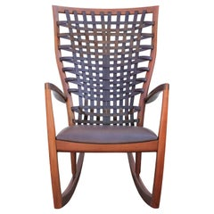Sculptural Modern Handmade Walnut and Woven Leather Rocking Chair