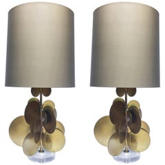 Sculptural Modern Metal and Lucite Bronzed Table Lamps