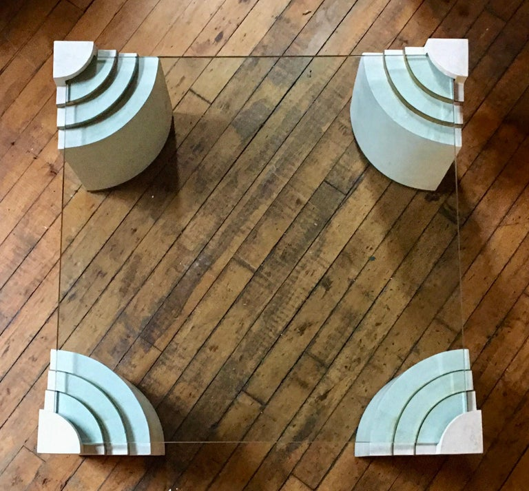 Mid-Century Modern Sculptural Modern Tessellated Stone Glass & Brass Square Cocktail Table, Marcius For Sale