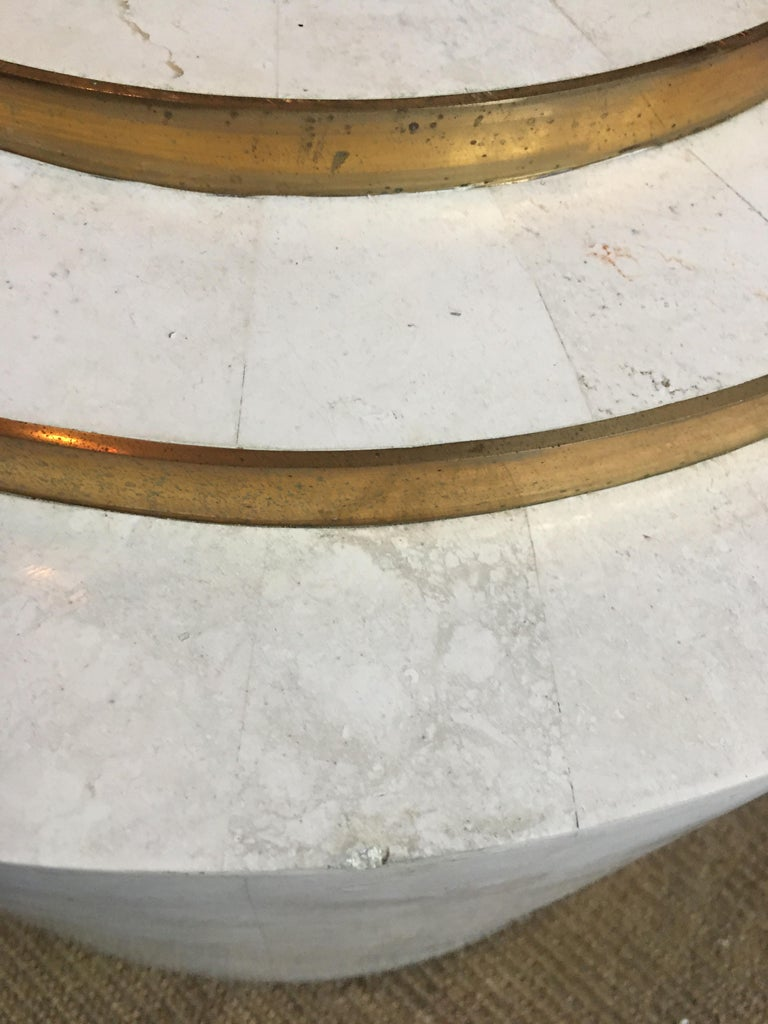 Late 20th Century Sculptural Modern Tessellated Stone Glass & Brass Square Cocktail Table, Marcius For Sale