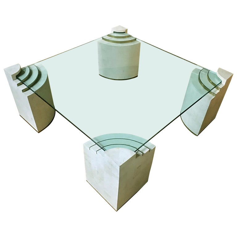Sculptural Modern Tessellated Stone Glass & Brass Square Cocktail Table, Marcius For Sale
