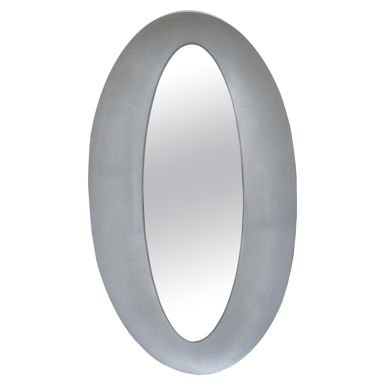 Sculptural Modernist Oval Mirror by Artist Lorenzo Burchiellaro