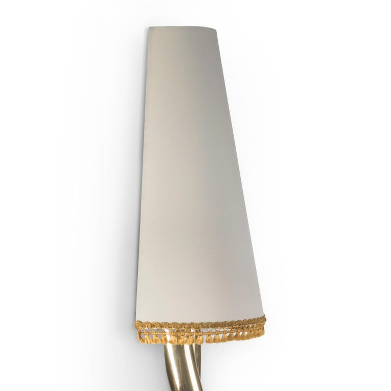 Modern Sculptural Monroe Gold Wall Sconce, Polished Brass, White Lampshade, Art Light For Sale