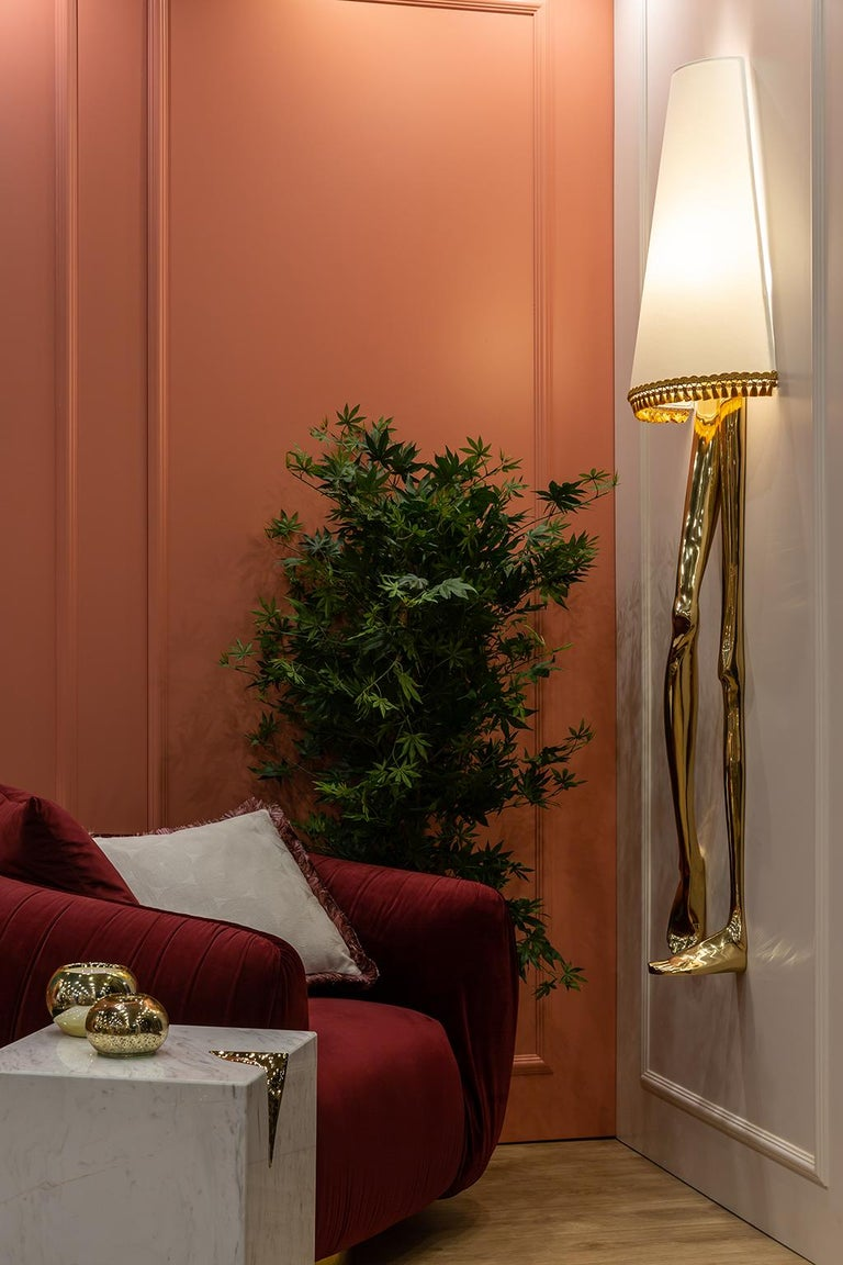 Sculptural Monroe Gold Wall Sconce, Polished Brass, White Lampshade, Art Light In New Condition For Sale In Oporto, PT