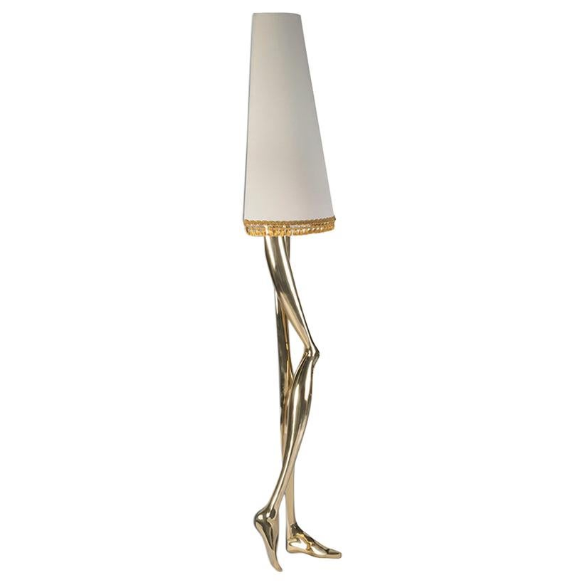 Sculptural Monroe Gold Wall Sconce Polished Brass Off White Lampshade, Art Light