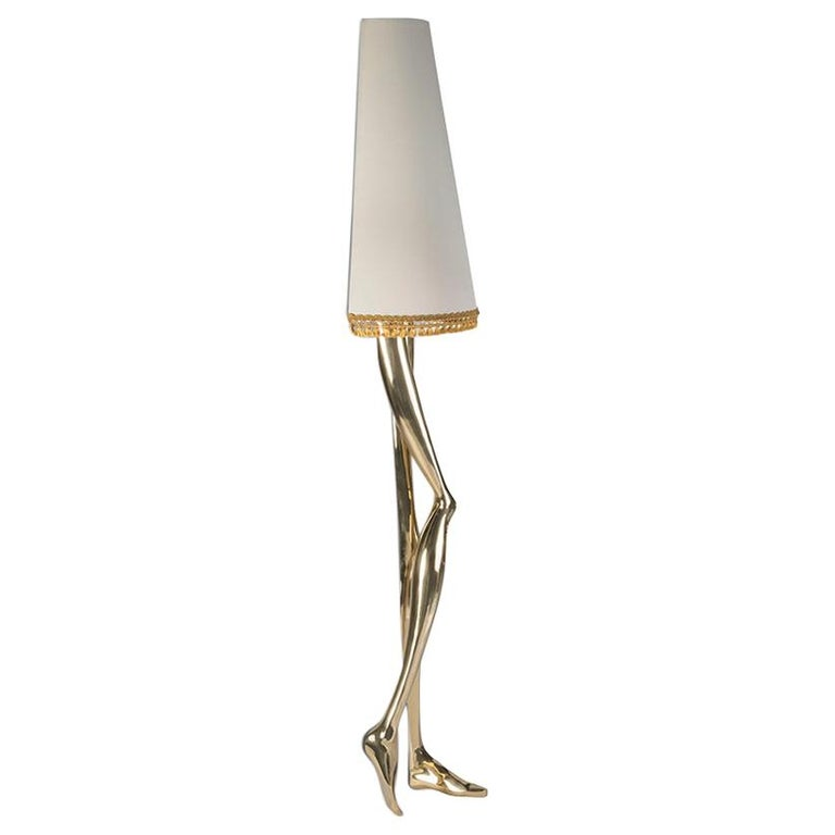 Sculptural Monroe Gold Wall Sconce, Polished Brass, White Lampshade, Art Light For Sale