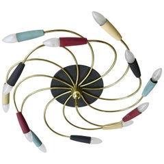 Sculptural Multicolored Flush Mount or Wall Lamp, Italy, 1950s