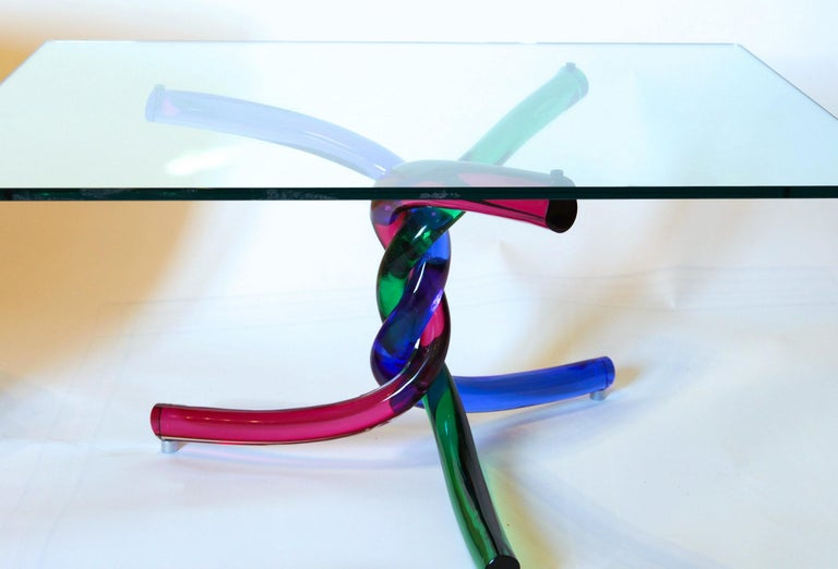 Sculptural Murano Glass Cocktail Table Twisted Rods, Cobalt Blue, Ruby and Green For Sale 4