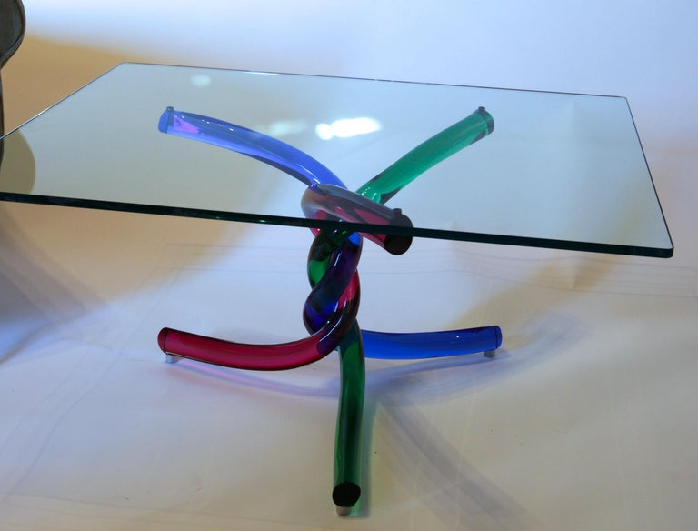 Sculptural Murano Glass Cocktail Table Twisted Rods, Cobalt Blue, Ruby and Green For Sale 6