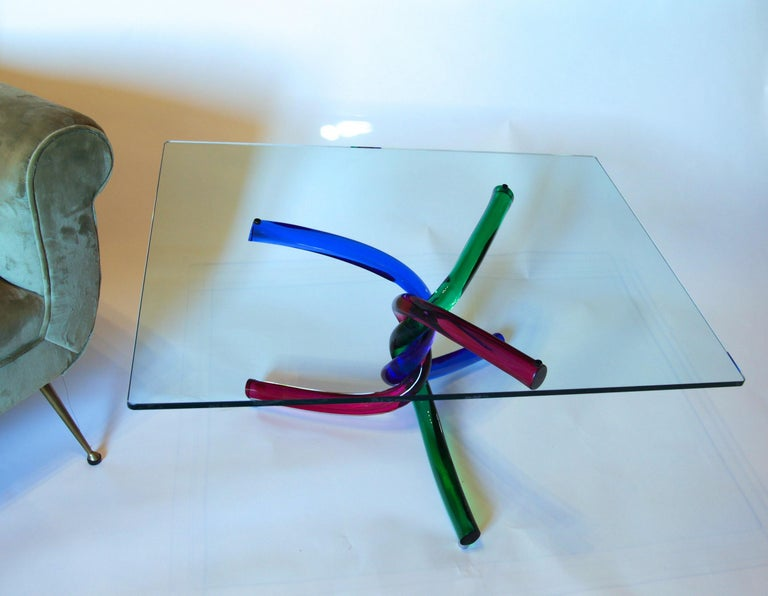Sculptural Murano Glass Cocktail Table Twisted Rods, Cobalt Blue, Ruby and Green For Sale 7