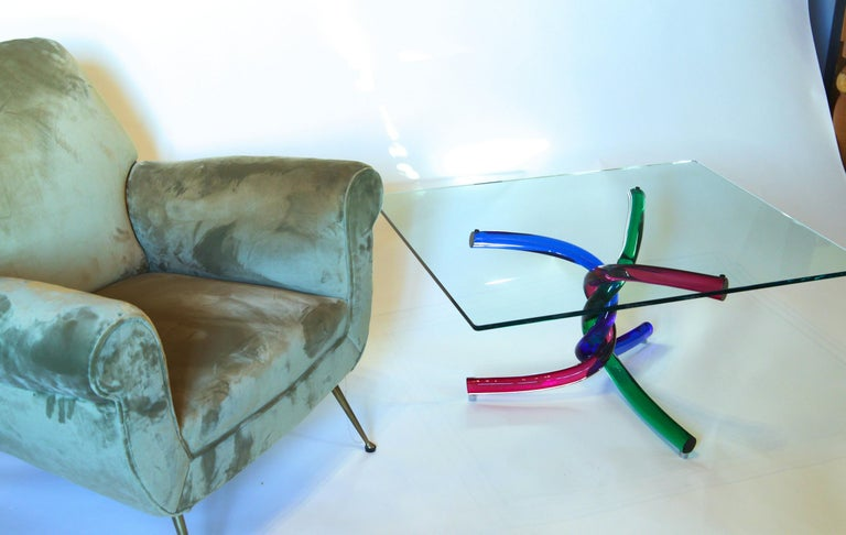 Sculptural Murano Glass Cocktail Table Twisted Rods, Cobalt Blue, Ruby and Green For Sale 8