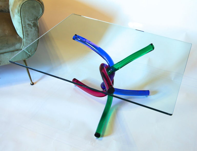 Sculptural Murano Glass Cocktail Table Twisted Rods, Cobalt Blue, Ruby and Green For Sale 9