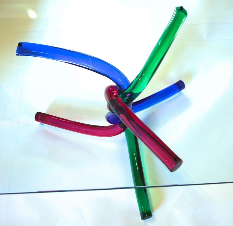 Sculptural Murano Glass Cocktail Table Twisted Rods, Cobalt Blue, Ruby and Green For Sale 10