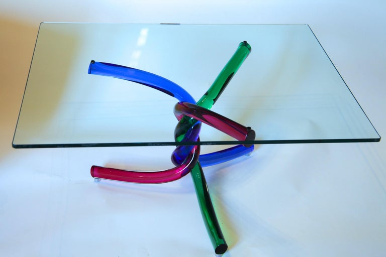 Sculptural Murano Glass Cocktail Table Twisted Rods, Cobalt Blue, Ruby and Green For Sale 12