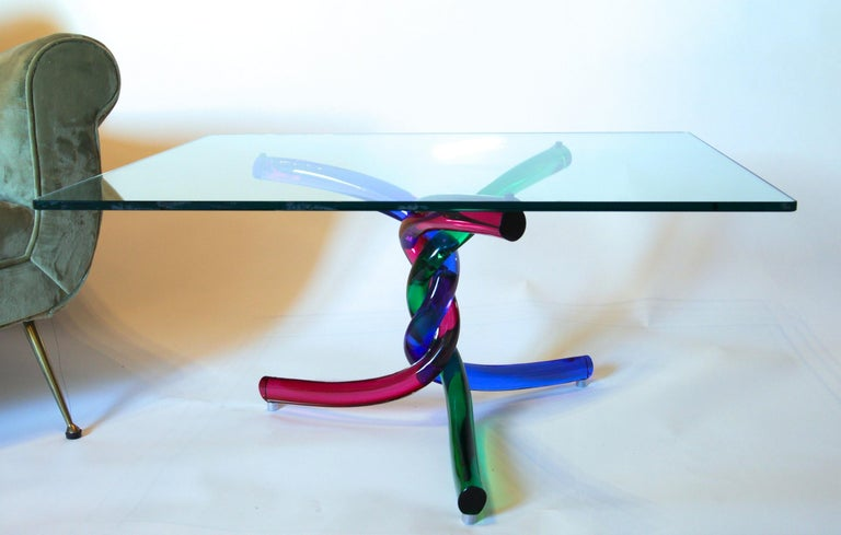 Sculptural Murano Glass Cocktail Table Twisted Rods, Cobalt Blue, Ruby and Green For Sale 13