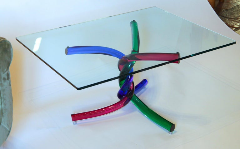 Sculptural Murano Glass Cocktail Table Twisted Rods, Cobalt Blue, Ruby and Green For Sale 14
