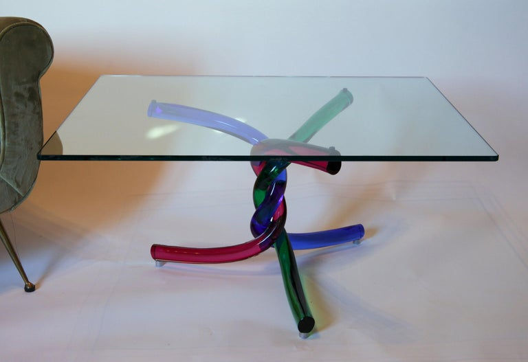 Sculptural Murano Glass Cocktail Table Twisted Rods, Cobalt Blue, Ruby and Green For Sale 2