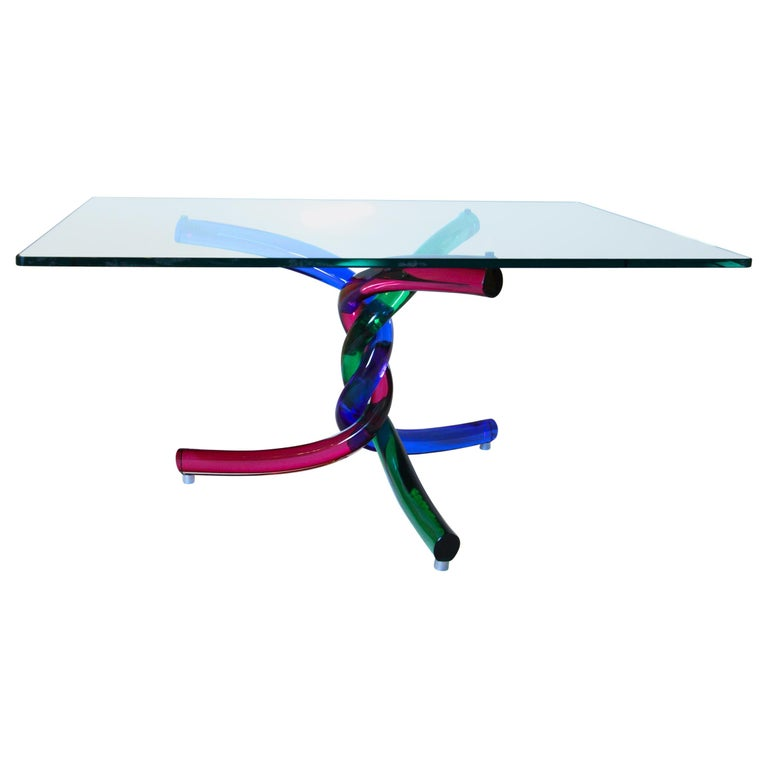 Sculptural Murano Glass Cocktail Table Twisted Rods, Cobalt Blue, Ruby and Green For Sale