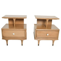 Sculptural Nightstands Side Tables by Kent Coffey Continental Sandalwood, 1960s