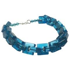 Sculptural Ocean Blue Carved Lucite Choker Necklace