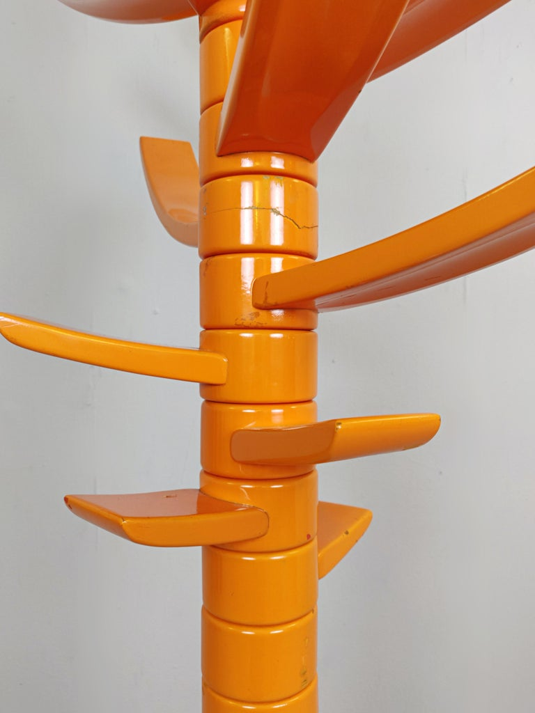 Mid-Century Modern Sculptural Orange Lacquered Wood Coat Rack by Bruce Tippett Renna For Sale