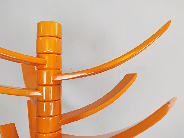 Italian Sculptural Orange Lacquered Wood Coat Rack by Bruce Tippett Renna For Sale