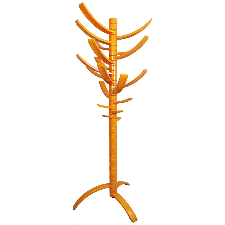 Sculptural Orange Lacquered Wood Coat Rack by Bruce Tippett Renna For Sale