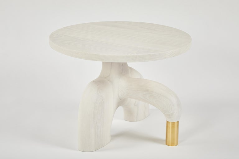 American Sculptural Organic Hand Carved Bleached Ash Side Table by Casey McCafferty For Sale