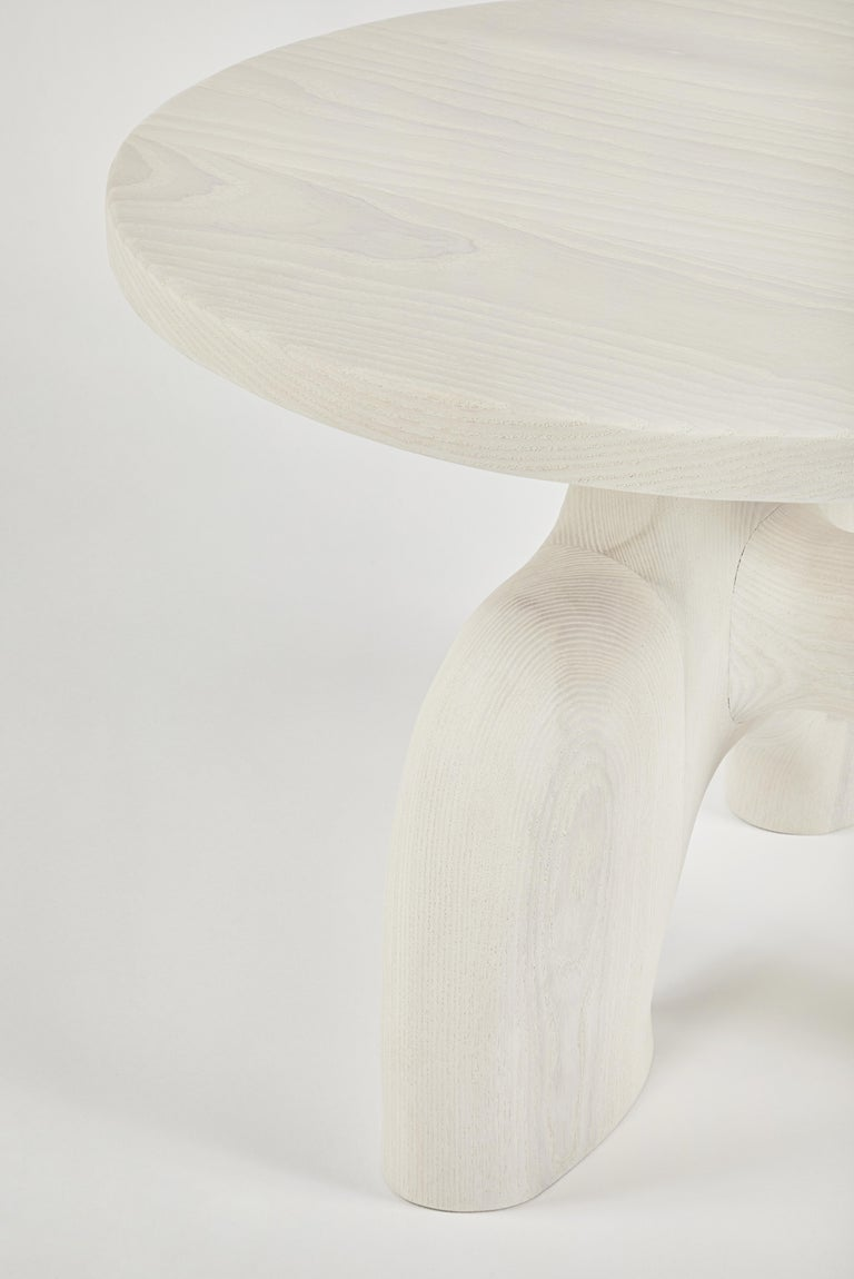 Sculptural Organic Hand Carved Bleached Ash Side Table by Casey McCafferty In New Condition For Sale In Santa Monica, CA
