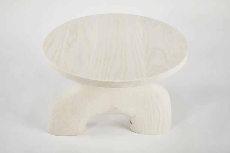 Contemporary Sculptural Organic Hand Carved Bleached Ash Side Table by Casey McCafferty For Sale