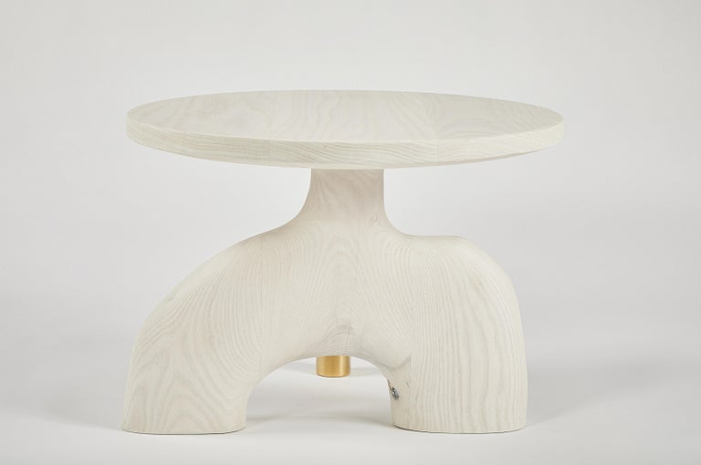 Sculptural Organic Hand Carved Bleached Ash Side Table by Casey McCafferty For Sale 3