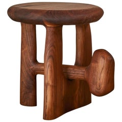 Sculptural Organic Hand Carved Oiled Walnut Side Table by Casey McCafferty