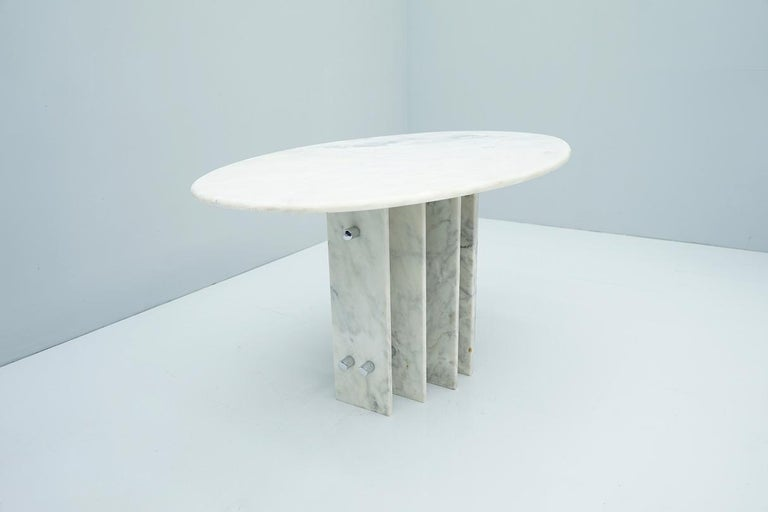 Late 20th Century Sculptural Oval Dining Table in Carrara Marble and Chrome, Italy, 1970s For Sale
