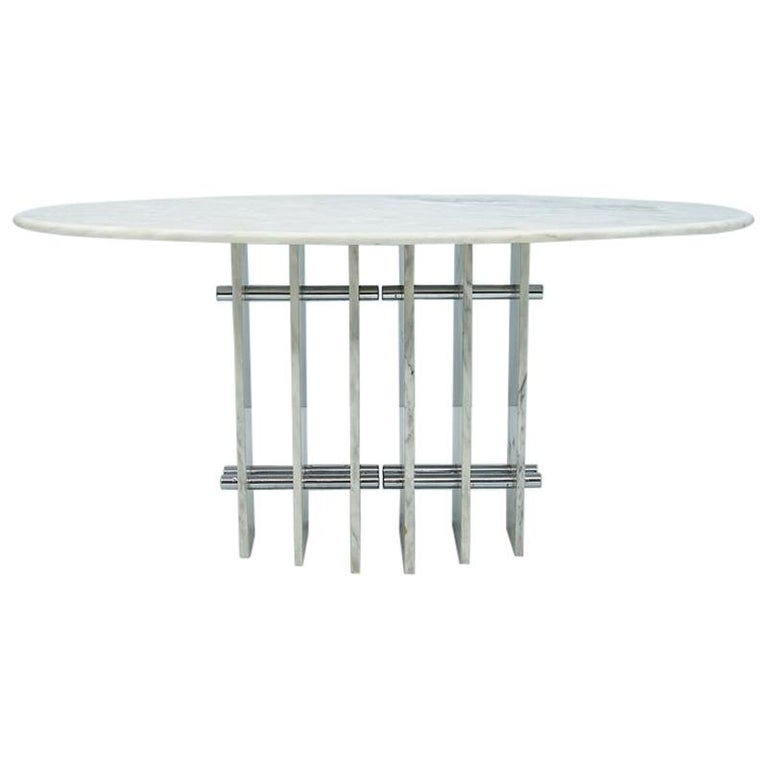 Sculptural Oval Dining Table in Carrara Marble and Chrome, Italy, 1970s For Sale